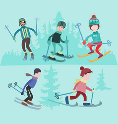 Flat of people skiing vector