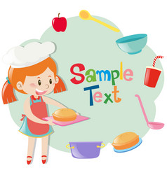 frame template with girl baking pie vector image
