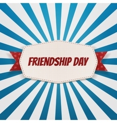 Friendship day greeting emblem with ribbon vector