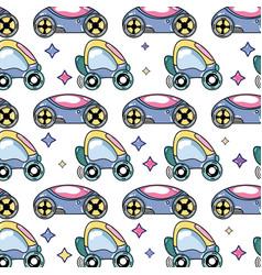 Futuristic cars with stars decoration design vector