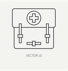 line flat military icon - first aid kit vector image vector image