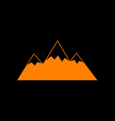 Mountain sign orange icon on black vector