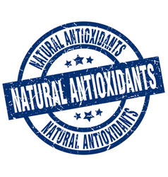 Natural antioxidants blue round grunge stamp vector