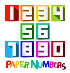 Paper numbers set colorful paper cut numbers vector