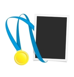 Photo frame with gold medal vector