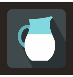 Pitcher of milk icon in flat style vector image