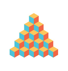 pyramid of cubes 3d isolated vector image