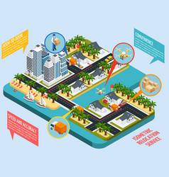relocation service isometric composition vector image