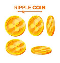 Ripple gold coins set flip different vector