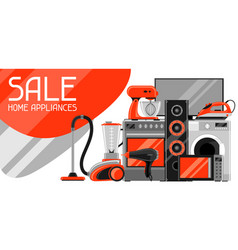 sale banner with home appliances household items vector image vector image