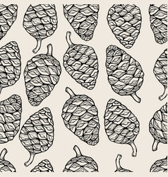 Seamless pattern with pine cones vector