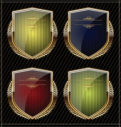 Shields with laurel wreaths vector