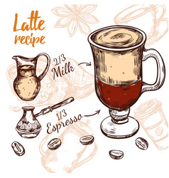 Sketch coffee recipe vector