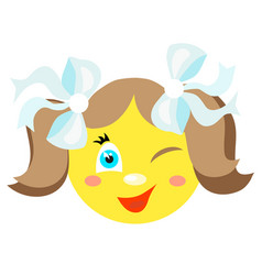 smiley girl winks and smiles vector image