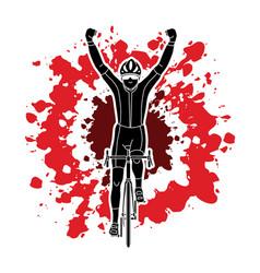 The winner bicycle riding sport man champion biki vector