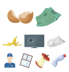 trash and garbage set icons in cartoon style big vector image vector image