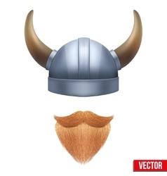 Viking symbol with horned helmet and beard vector
