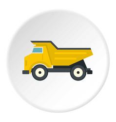 Yellow dump truck icon circle vector