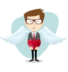 Young Man Inspired by Love Keeps the Heart vector image vector image