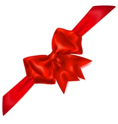 Red bow with diagonally ribbons vector