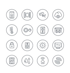 Smart house technology system line icons in vector
