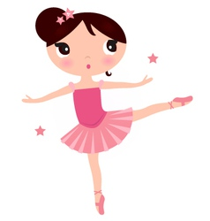 Cute Pink ballerina girl isolated on white vector image