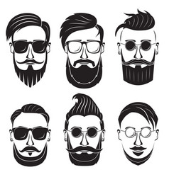 hipster face on a white background bearded man vector image