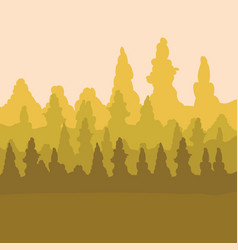 sepia design of mountains and forest landscape vector image
