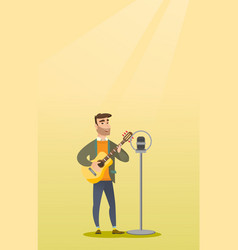 Man singing into a microphone vector