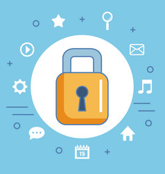 Secure shopping icon digital internet vector