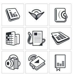 Audio book icon collection vector