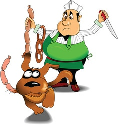 Cook with sausages vector