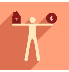 Flat with shadow icon man holding house and coins vector