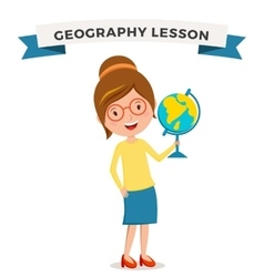 School geography lessons woman teacher vector