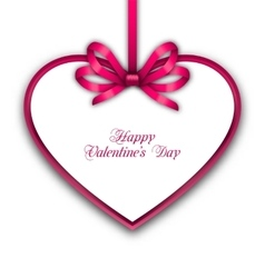 Celebration Card in form Heart with Ribbon for vector image