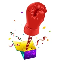 April fools day red boxing glove on spring flies vector