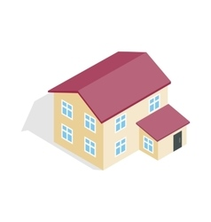 Two storey house icon isometric 3d style vector