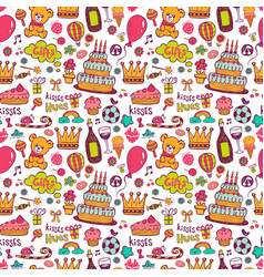 birthday background with symbols of a holiday vector image vector image