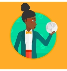 Business woman holding globe vector image