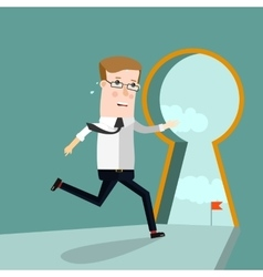 Businessman entering keyhole business concept vector