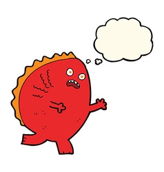 Cartoon monster with thought bubble vector