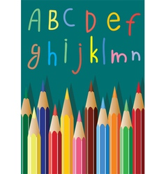 colored pencils and alphabet letters vector image vector image