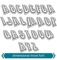 Dimensional move font line retro style geometric vector