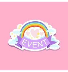Event template label cute sticker with rainbow vector