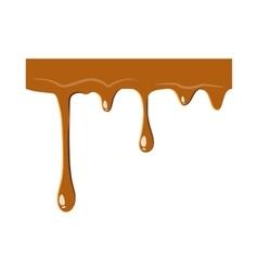 Flowing drop of caramel icon vector image