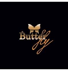 Golden butterfly with text logo vector image vector image
