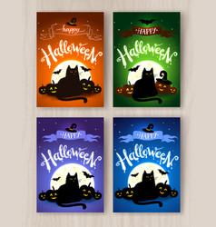 happy halloween postcards designs collection vector image vector image
