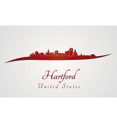 Hartford skyline in red vector