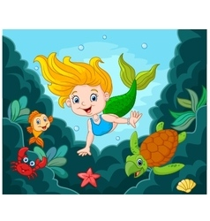 Little mermaid with sea animals vector
