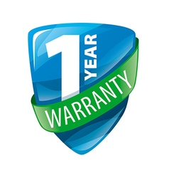 logo in the form of shield 1 year warranty vector image